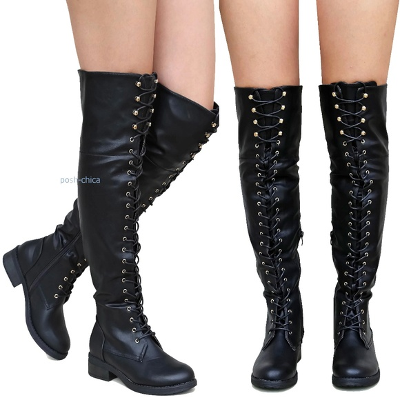 Black Over The Knee Lace Up Boots